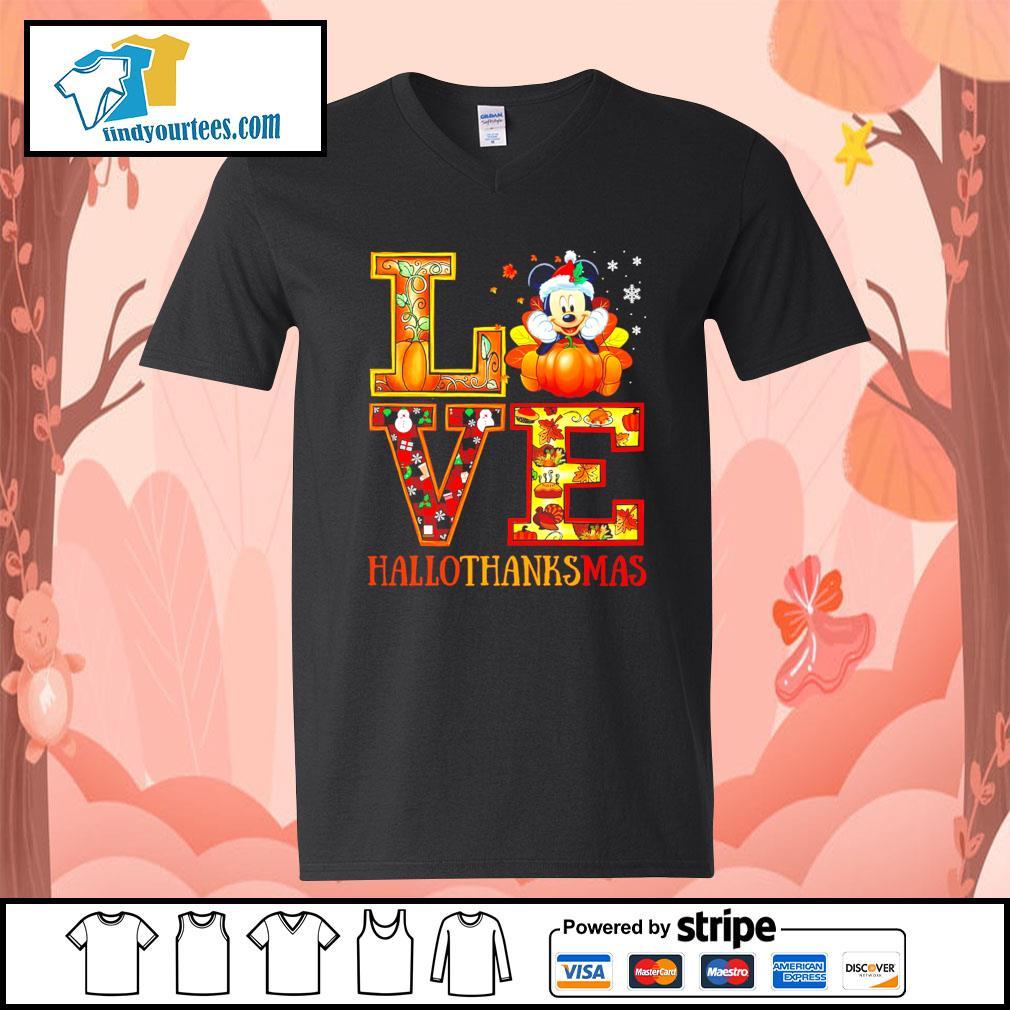 Mickey Mouse Love Hallothanksmas s V-neck-T-shirt