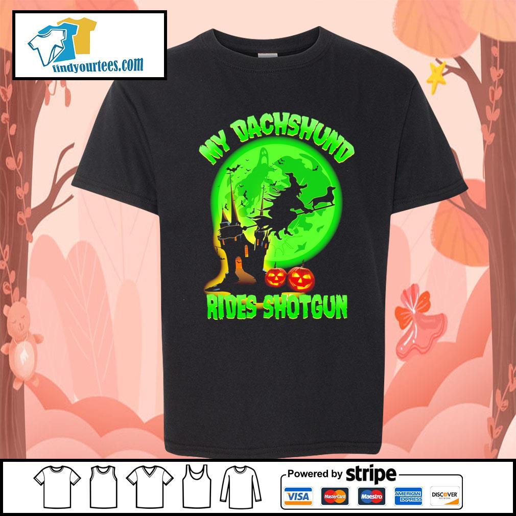 My Dachshund rides shotgun Halloween s Kid-T-shirt