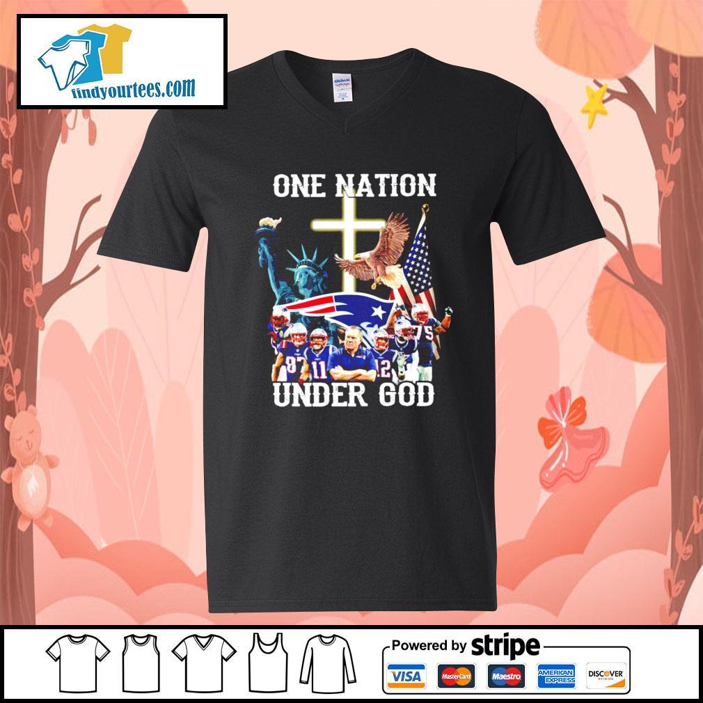 New England Patriots one nation under god s V-neck-T-shirt