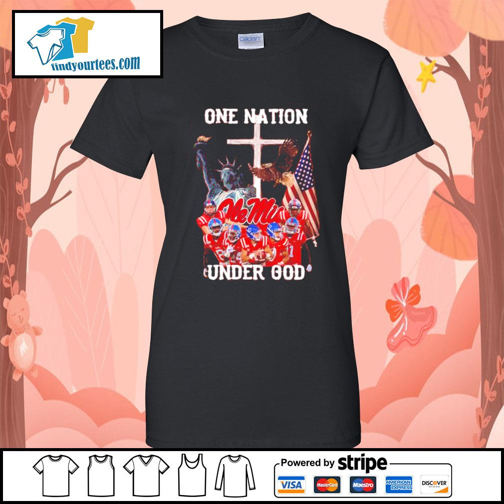 Ole Miss Rebels one nation under god s Ladies-Tee