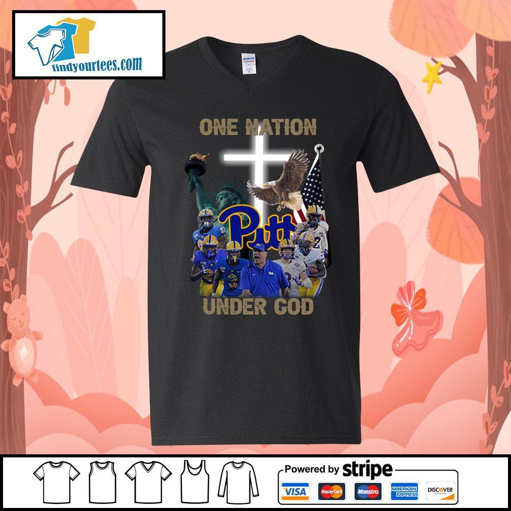 Pittsburgh Panthers one nation under god s V-neck-T-shirt