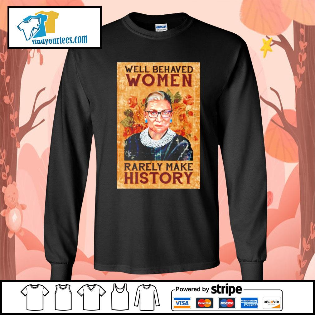 RBG Ruth Bader Ginsburg well behaved woman rarely make history s Long-Sleeves-Tee