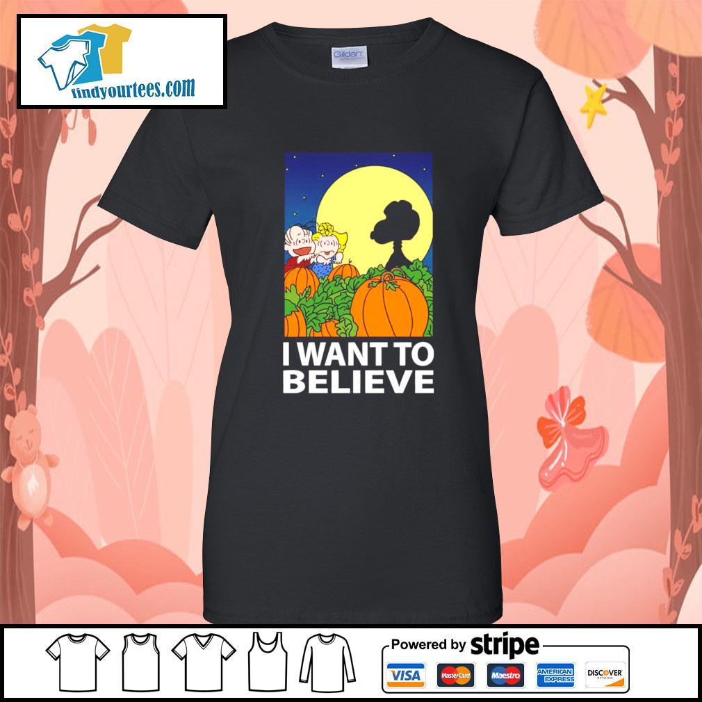Snoopy The Great Pumpkin I want to believe Halloween s Ladies-Tee
