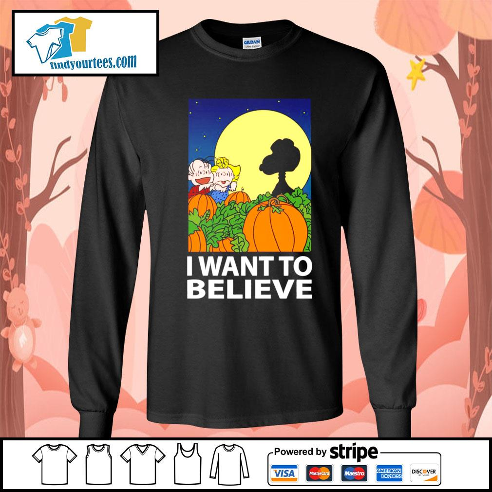 Snoopy The Great Pumpkin I want to believe Halloween s Long-Sleeves-Tee