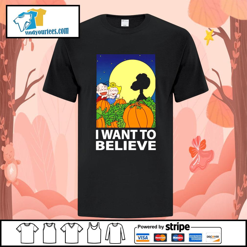 Snoopy The Great Pumpkin I want to believe Halloween shirt