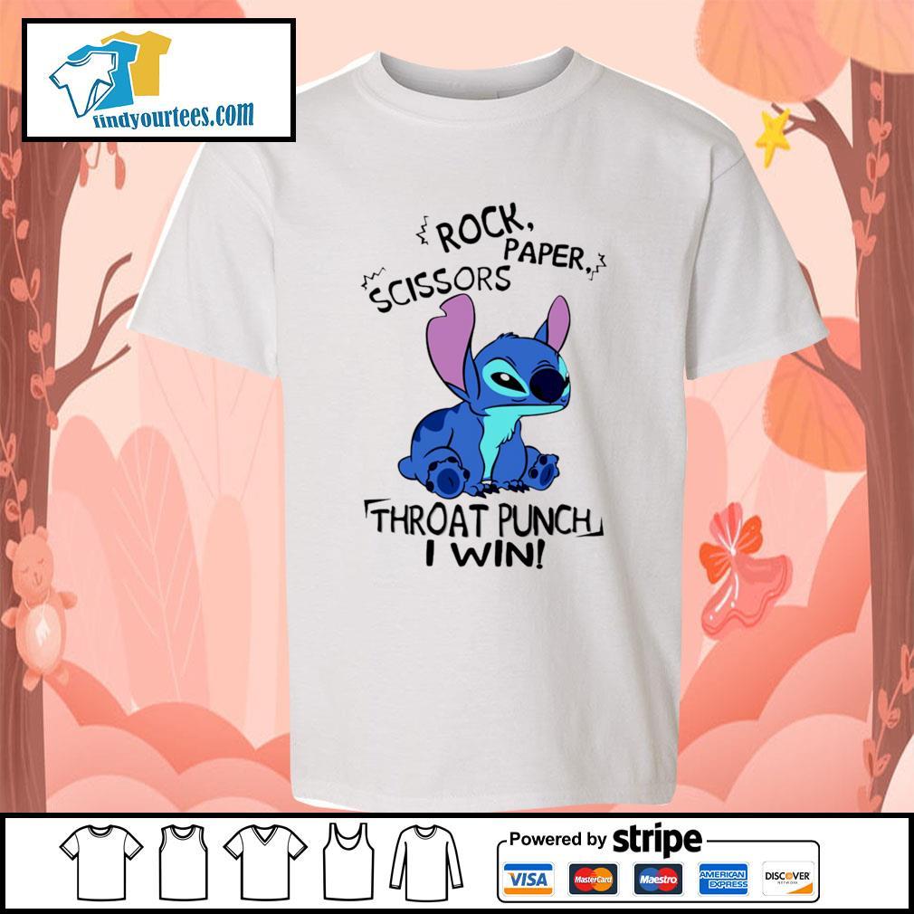 Stitch rock paper scissors throat punch I win s Kid-T-shirt