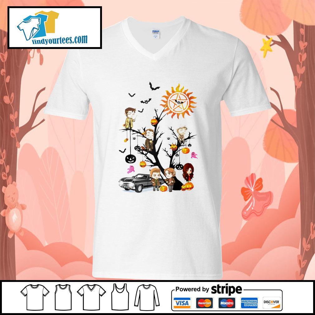 Supernatural tree Happy Halloween s V-neck-T-shirt