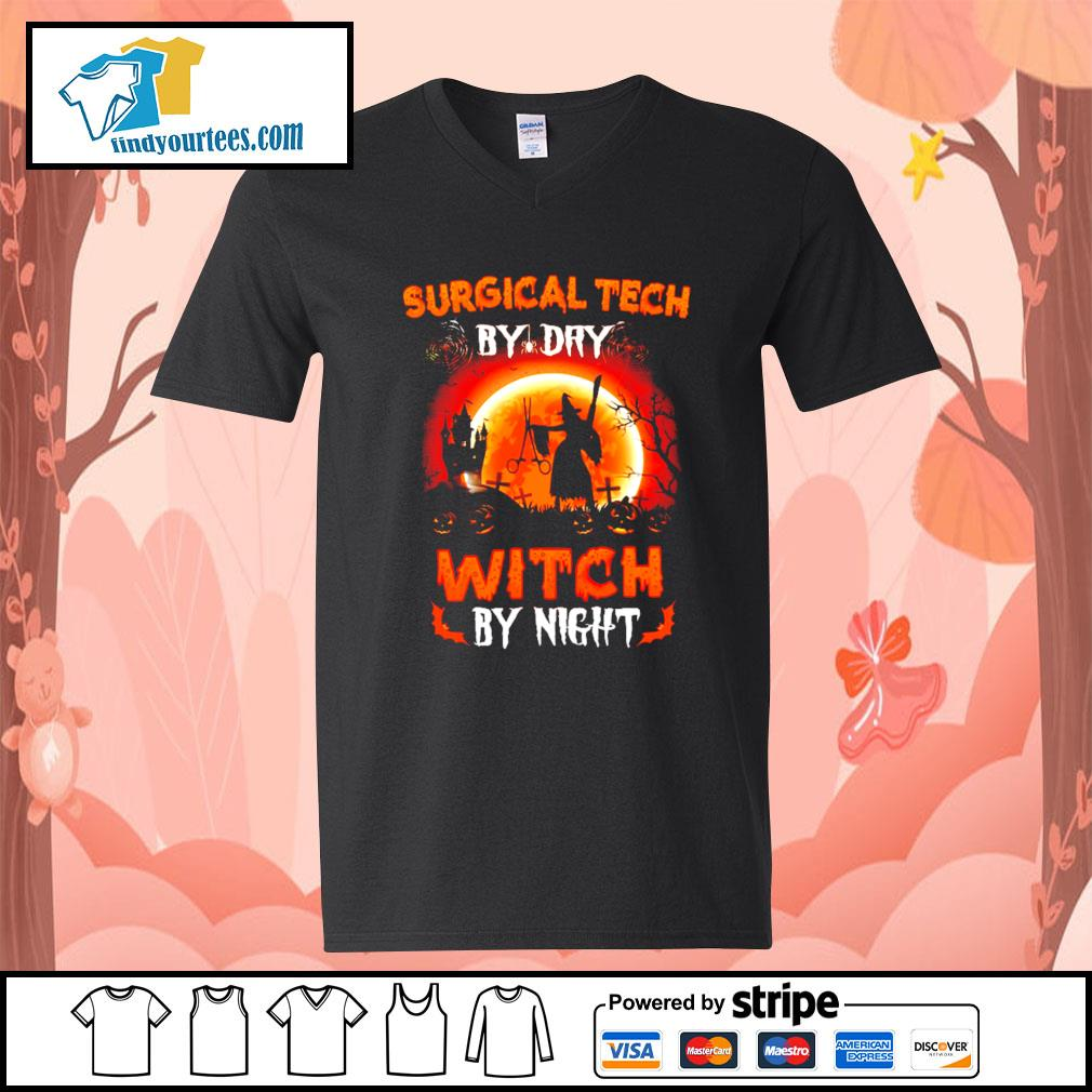 Surgical tech by day witch by night Halloween s V-neck-T-shirt