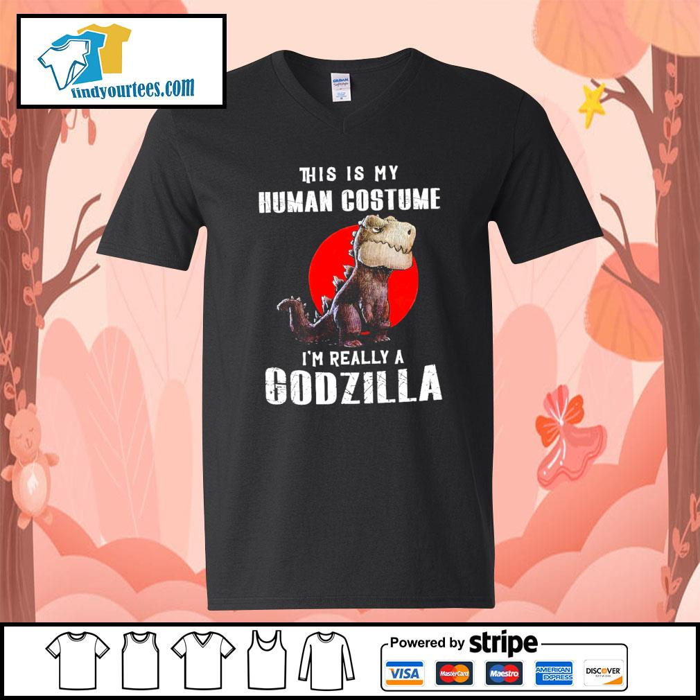 T-rex this is my human costume I'm really a Godzilla s V-neck-T-shirt