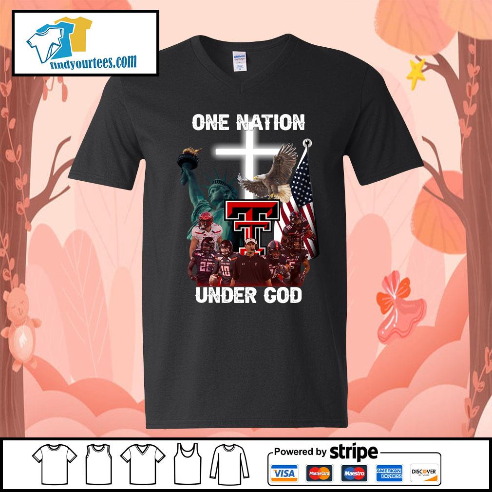 Texas Tech Red Raiders one nation under god s V-neck-T-shirt
