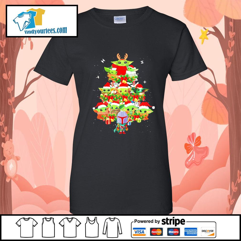 The Mandalorian and Baby Yoda tree Christmas s Ladies-Tee