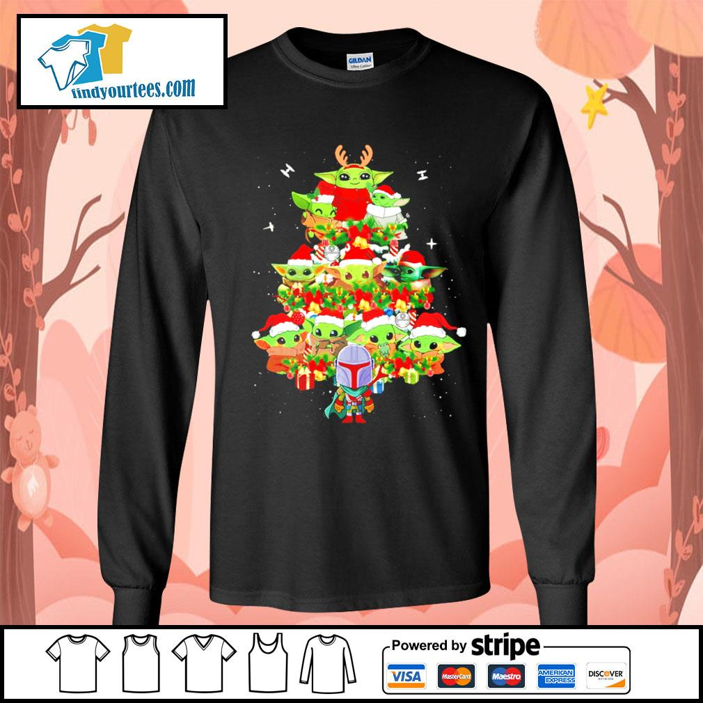 The Mandalorian and Baby Yoda tree Christmas s Long-Sleeves-Tee