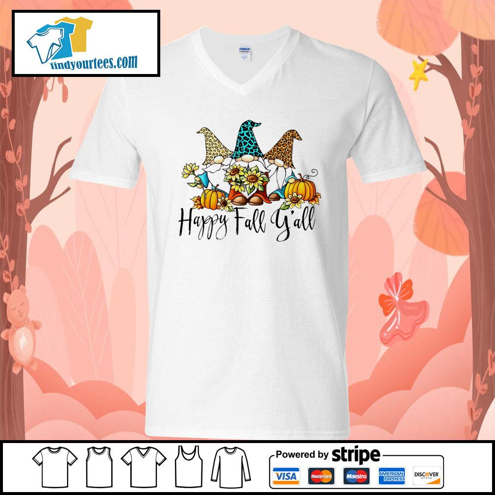 Three Gnomes happy fall y'all s V-neck-T-shirt