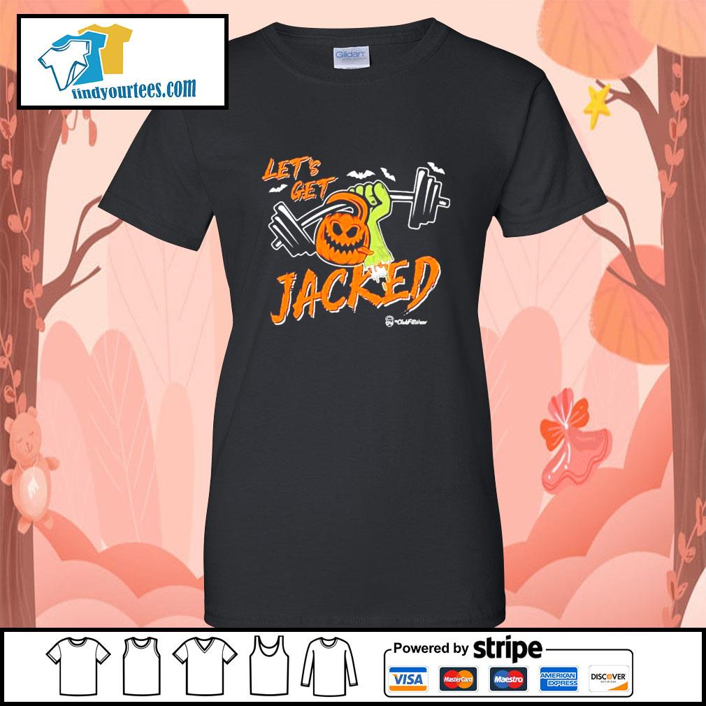 Weightlifting Pumpkin Let's get Jacked Halloween s Ladies-Tee