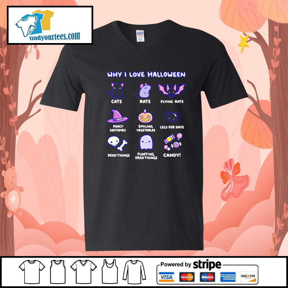 Why I love Halloween cute cats rats fancy costumes candy s V-neck-T-shirt