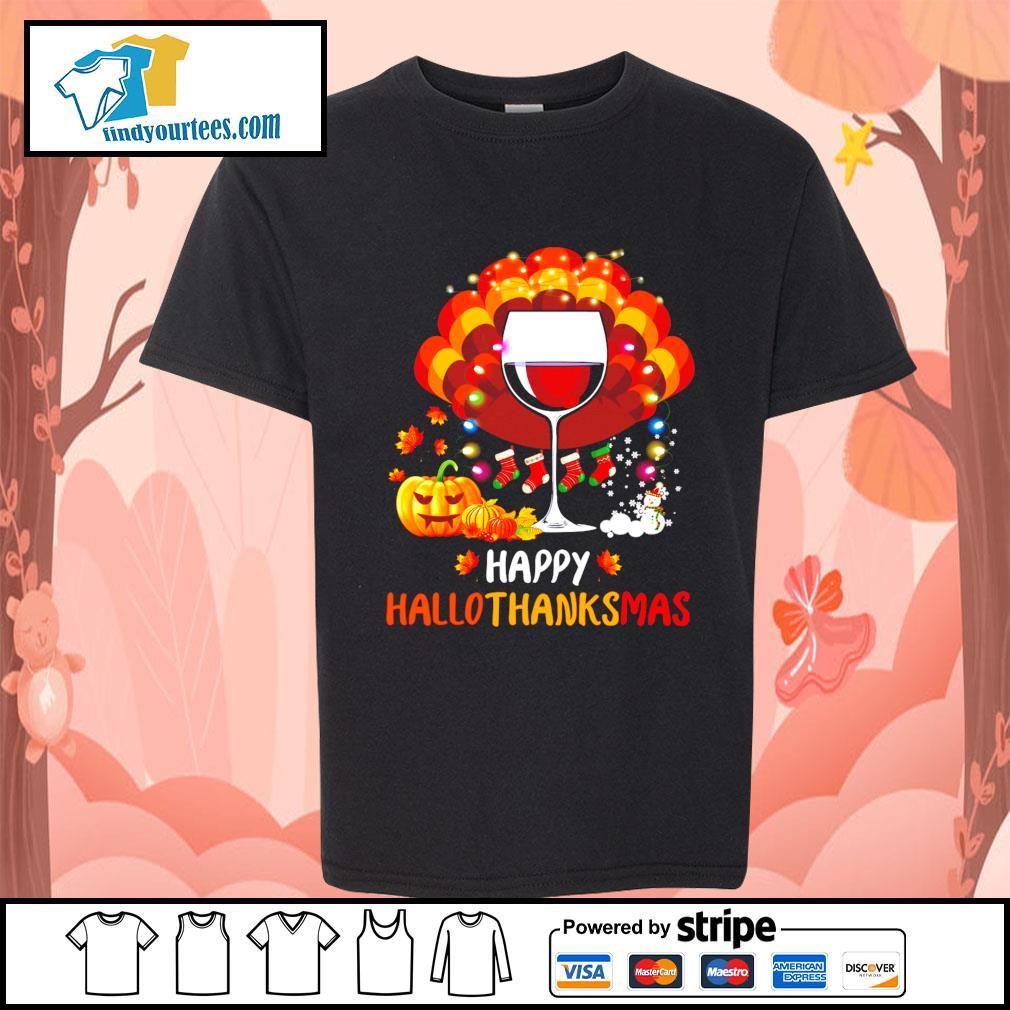 Wine Turkey happy Hallothanksmas Halloween s Kid-T-shirt