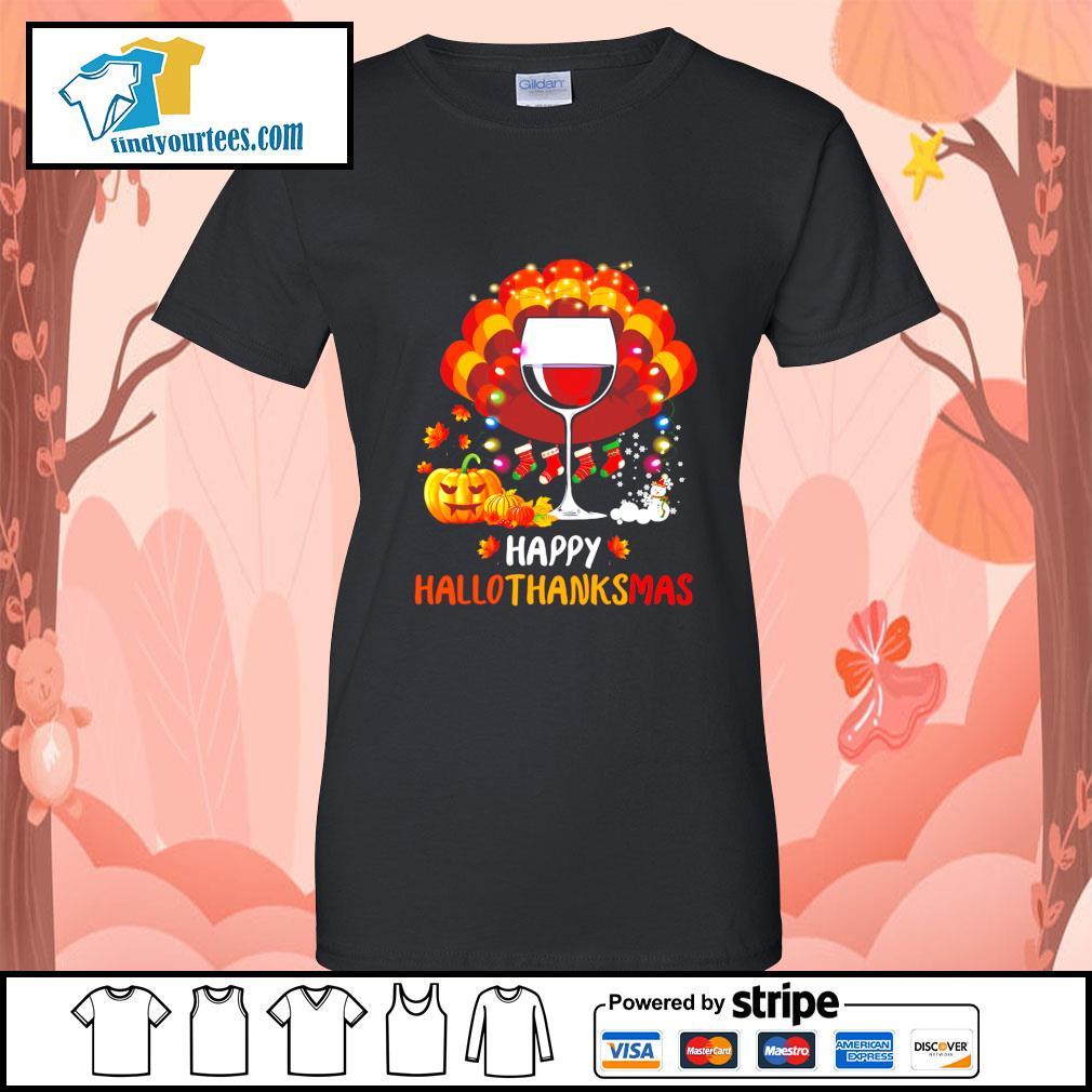 Wine Turkey happy Hallothanksmas Halloween s Ladies-Tee