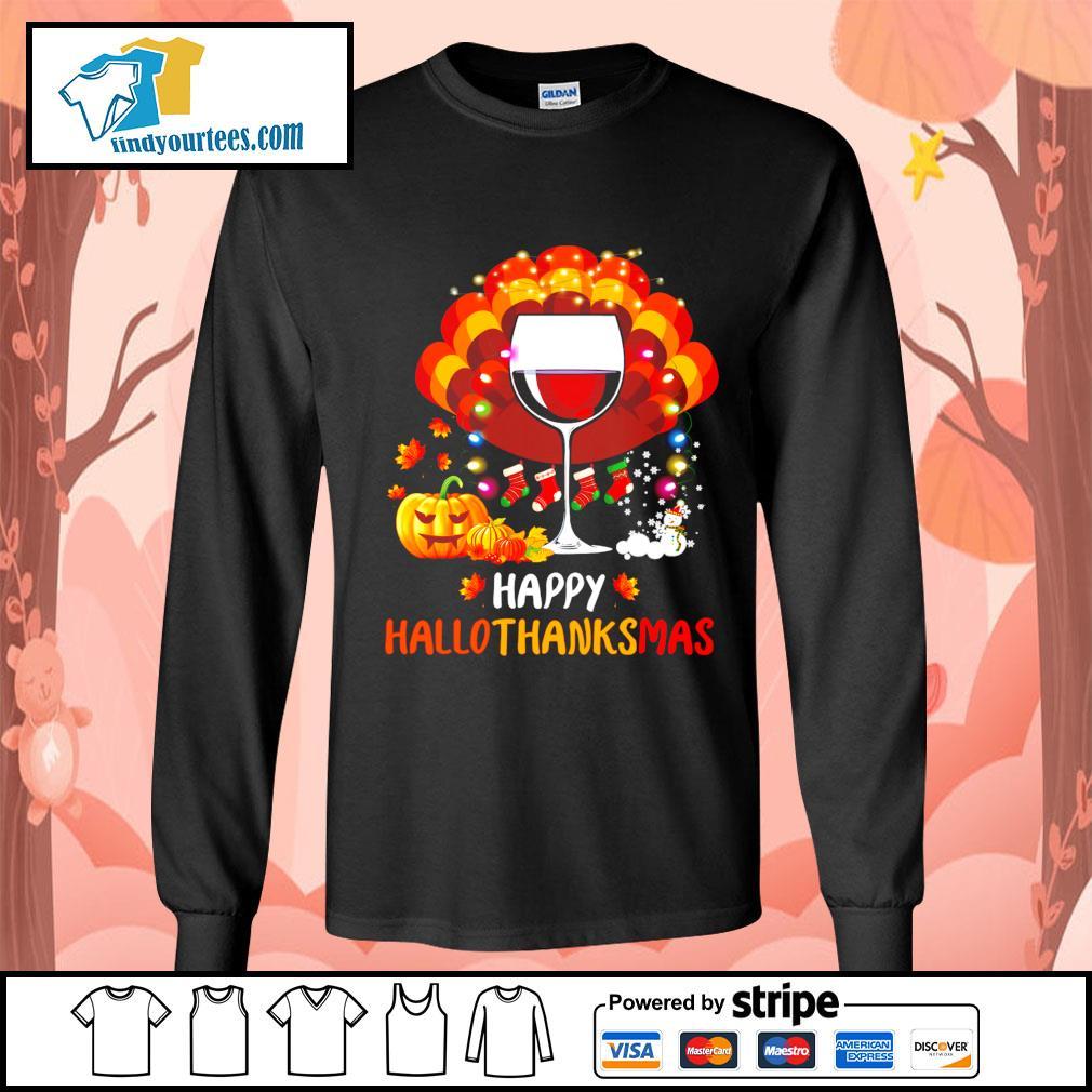 Wine Turkey happy Hallothanksmas Halloween s Long-Sleeves-Tee