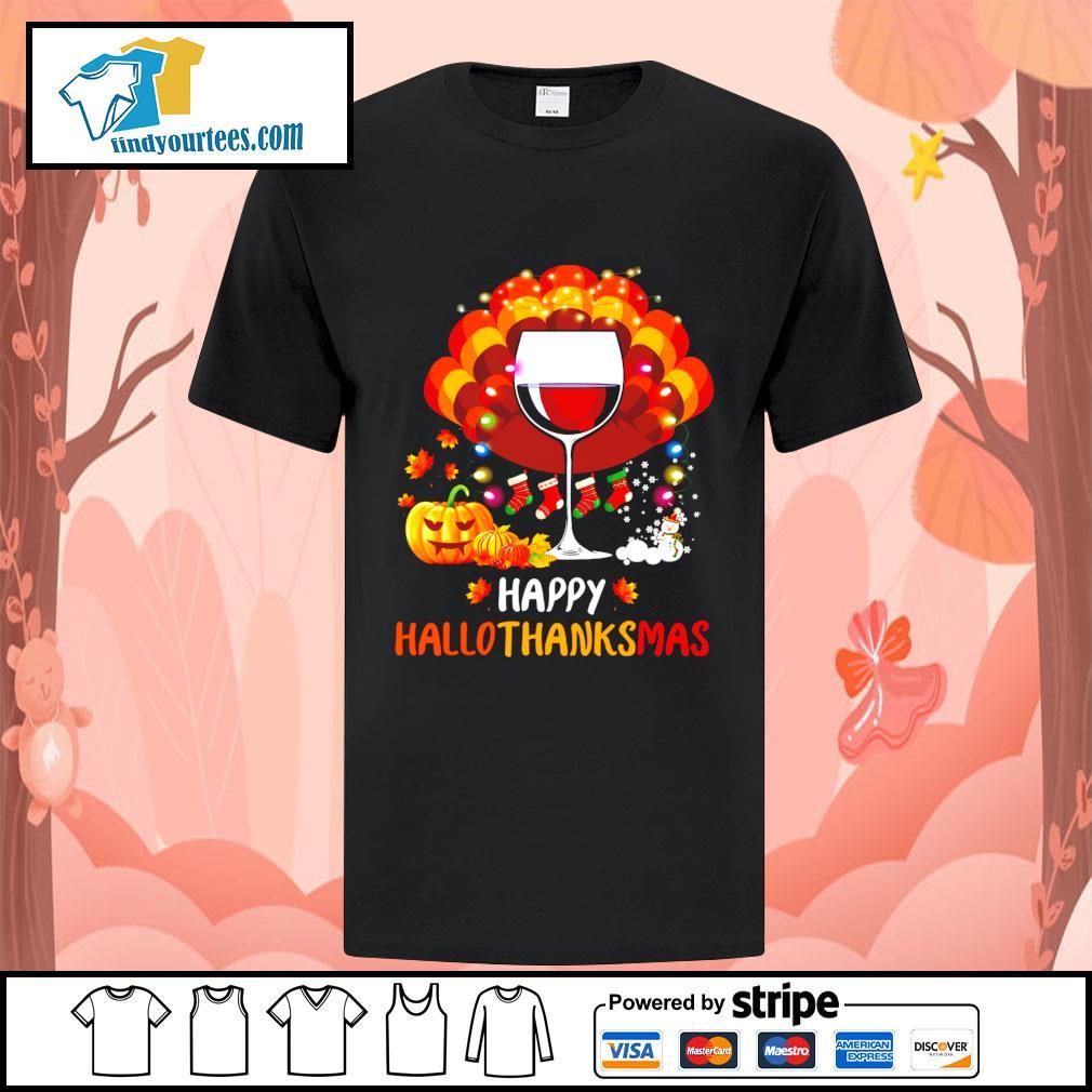 Wine Turkey happy Hallothanksmas Halloween shirt