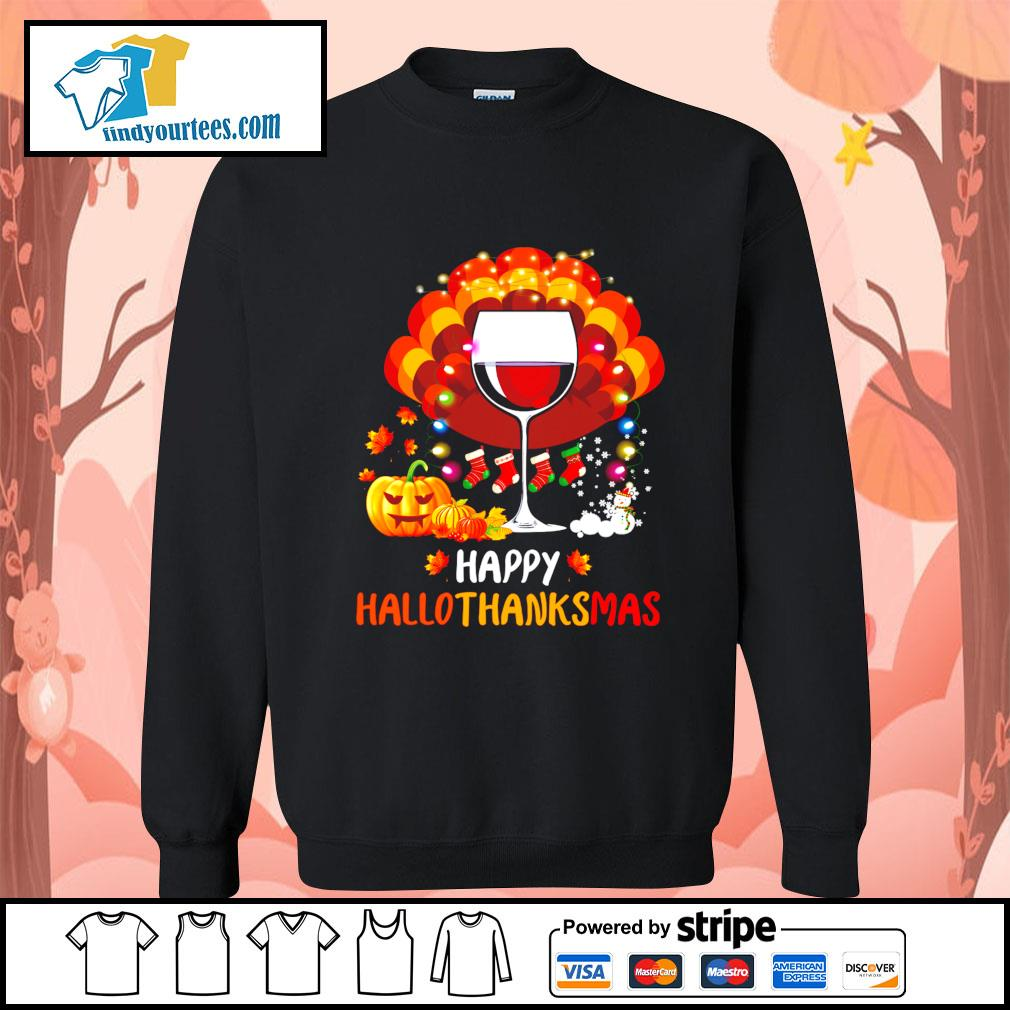 Wine Turkey happy Hallothanksmas Halloween s Sweater