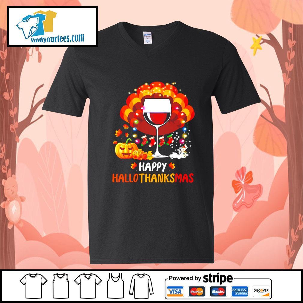 Wine Turkey happy Hallothanksmas Halloween s V-neck-T-shirt