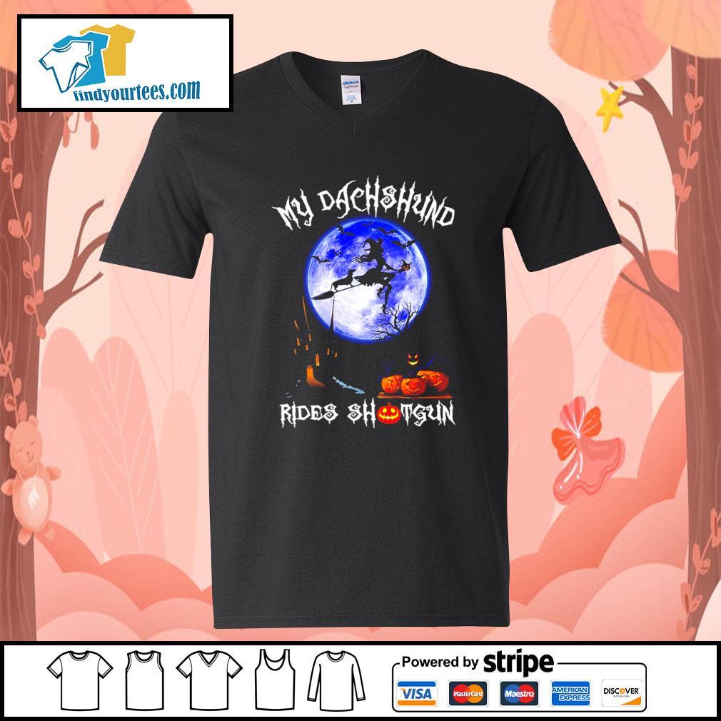 Witch my Dachshund rides shotgun Halloween s V-neck-T-shirt