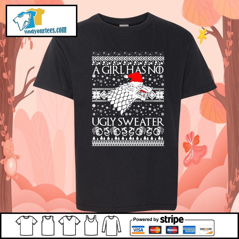 A Girl Has No Ugly Sweater Arya Stark GoT ugly Christmas sweater Kid-T-shirt