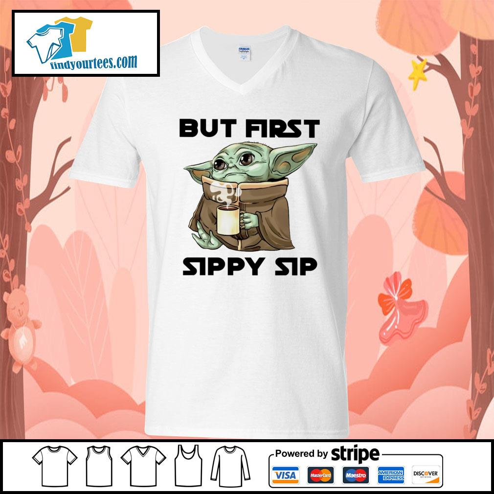 Baby Yoda but first sippy sip s V-neck-T-shirt
