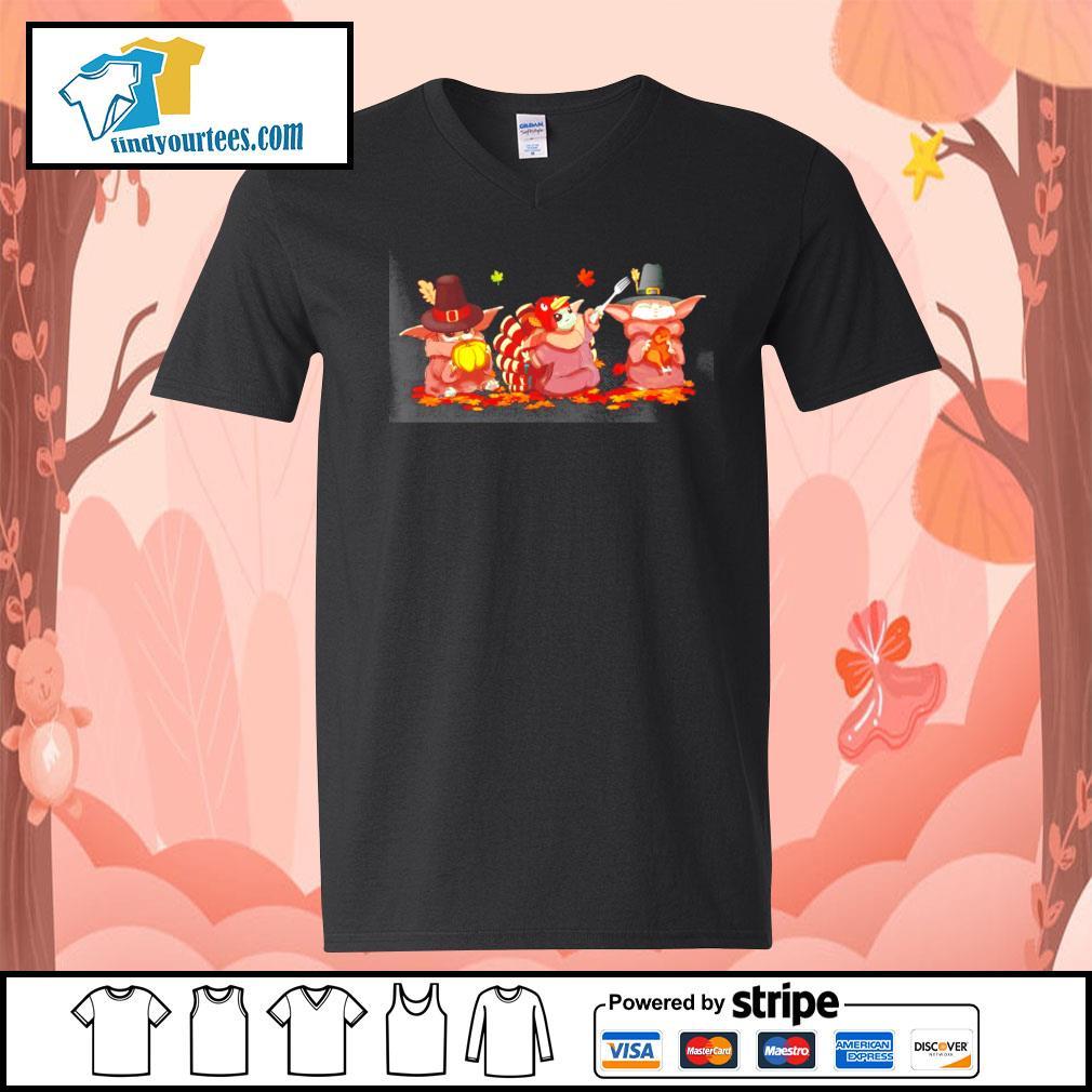 Baby Yoda turkey thanksgiving Halloween s V-neck-T-shirt