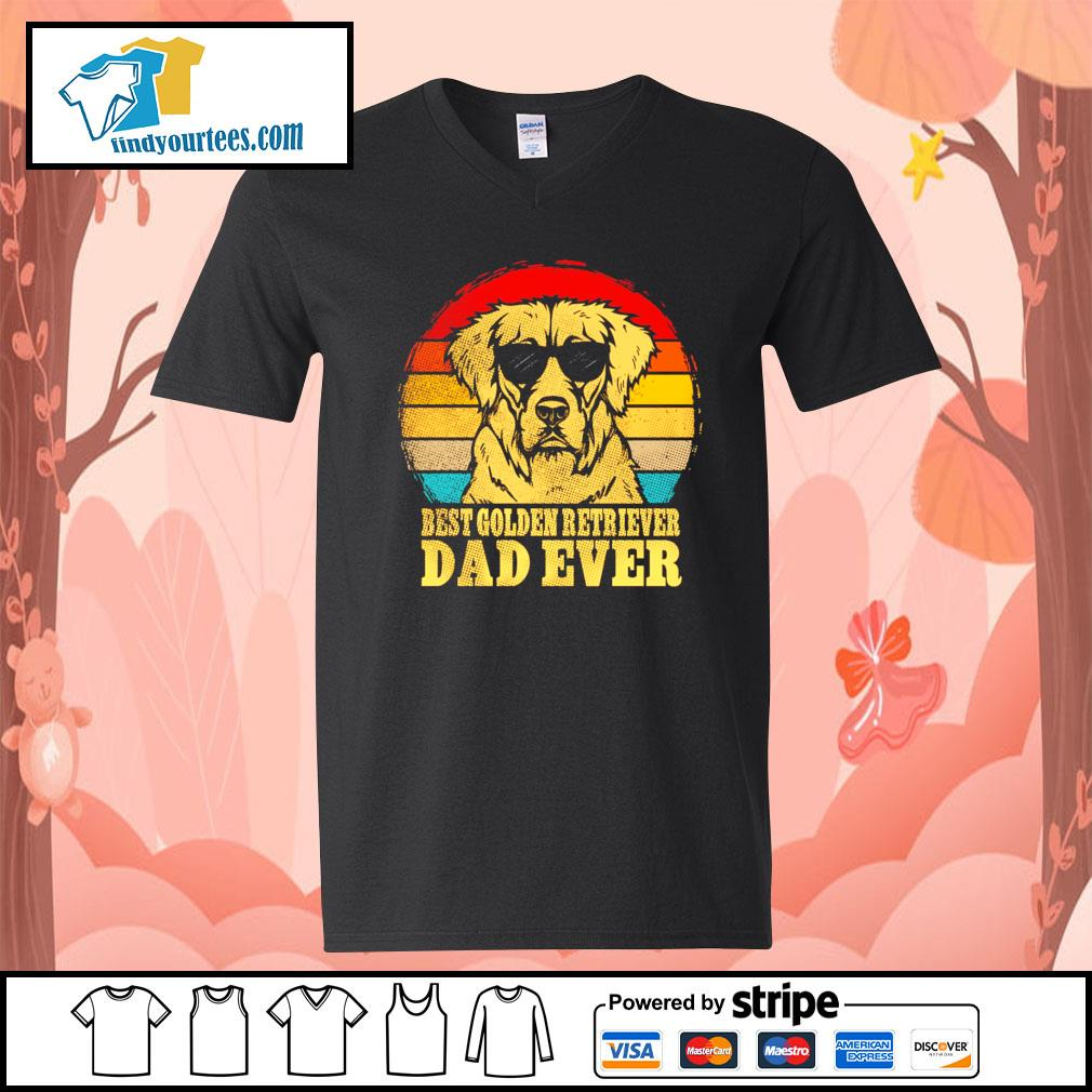 Best Golden Retriever dad ever vintage s V-neck-T-shirt