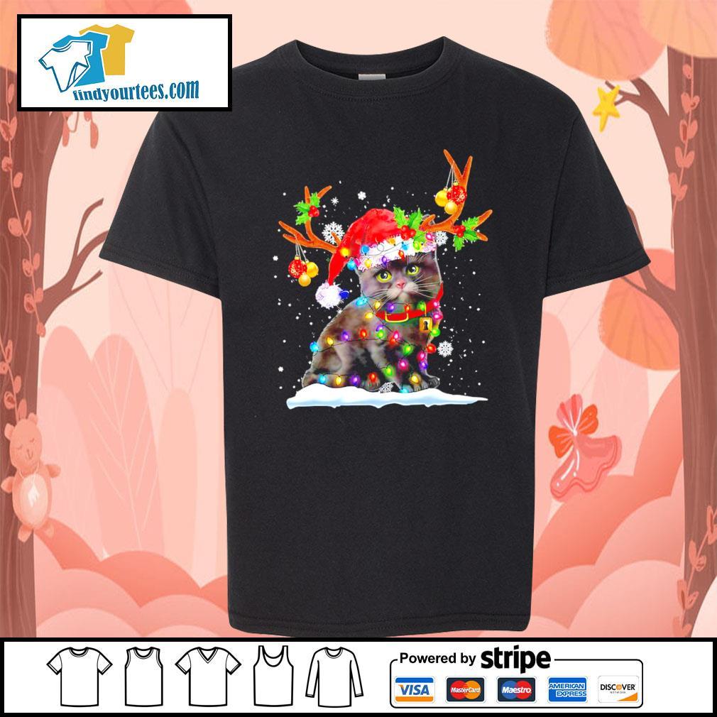 Black cat Reindeer Christmas s Kid-T-shirt