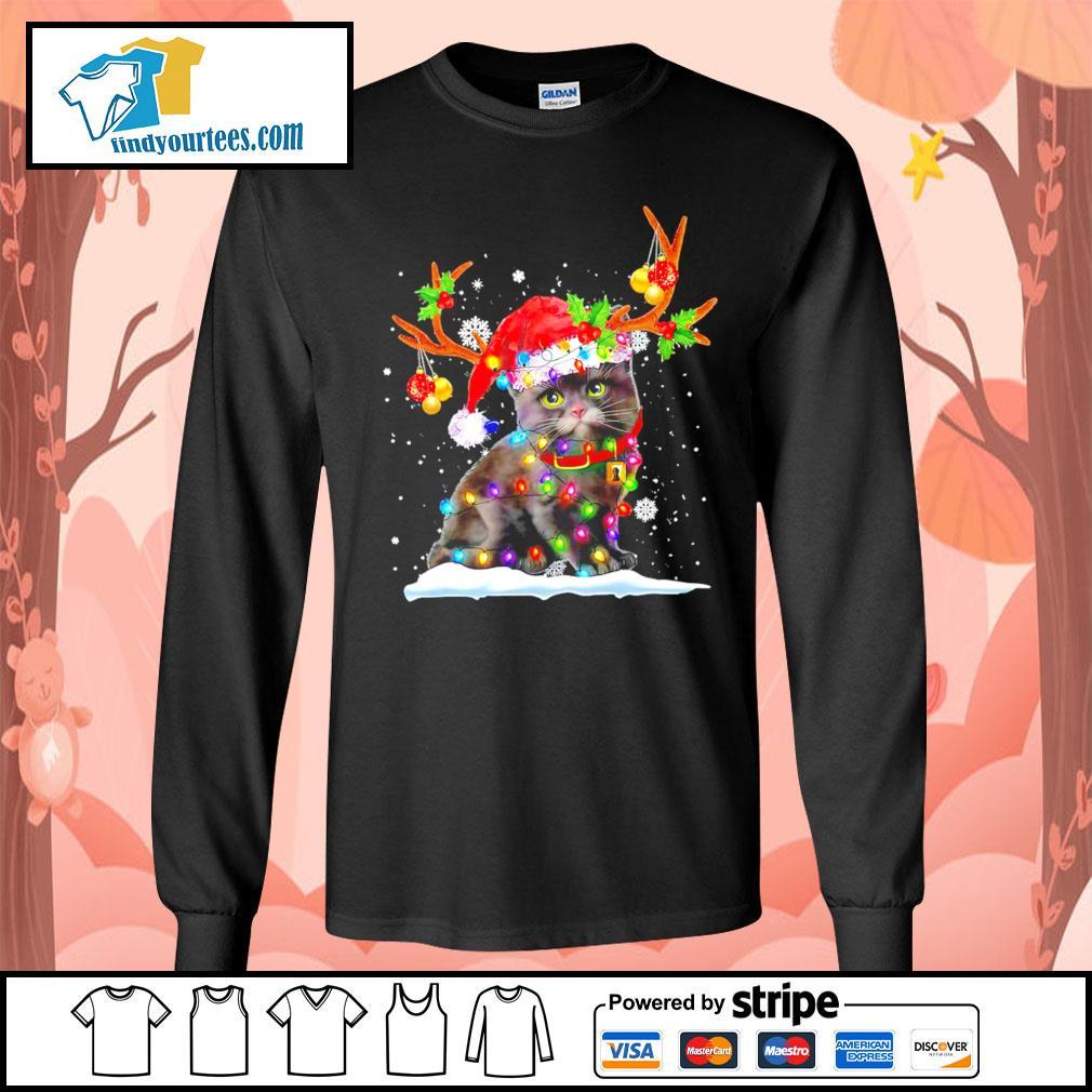 Black cat Reindeer Christmas s Long-Sleeves-Tee