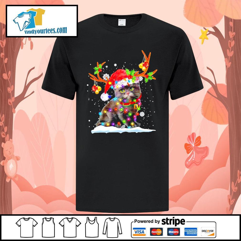 Black cat Reindeer Christmas shirt