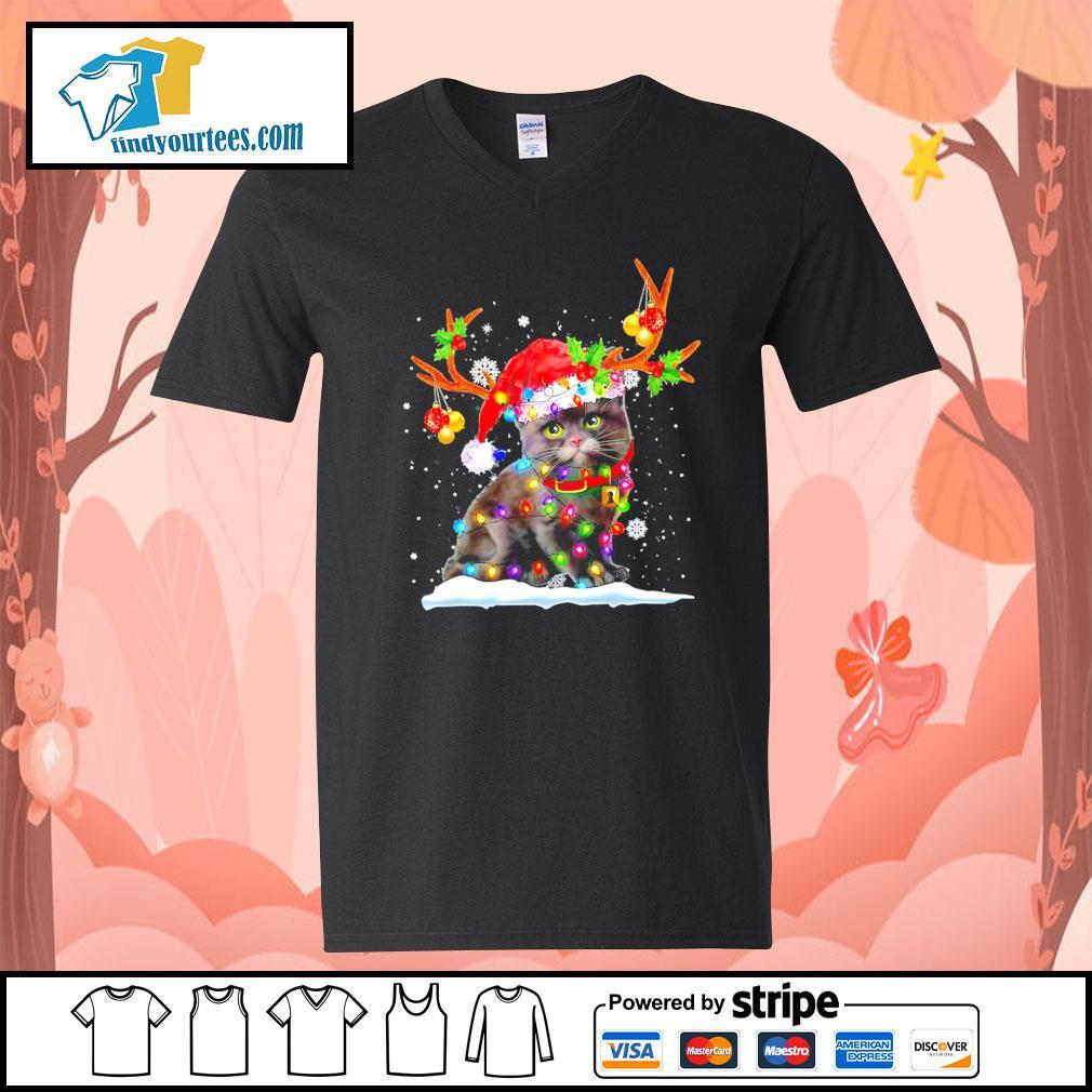 Black cat Reindeer Christmas s V-neck-T-shirt
