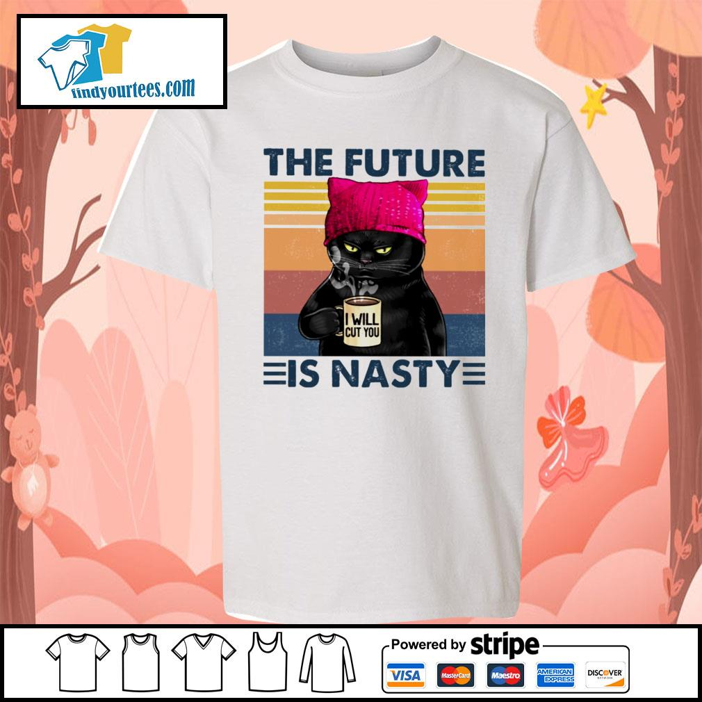 Black Cat the future I will cut you is nasty vintage s Kid-T-shirt