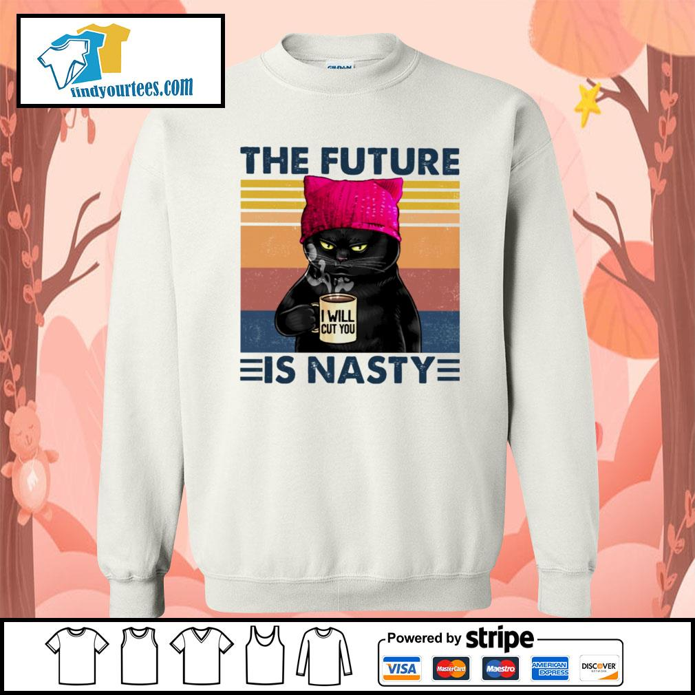 Black Cat the future I will cut you is nasty vintage s Sweater