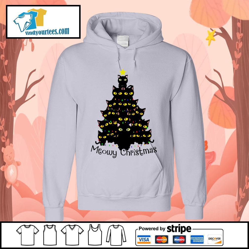 Black Cats Meowy Christmas Tree shirt, sweater Hoodie