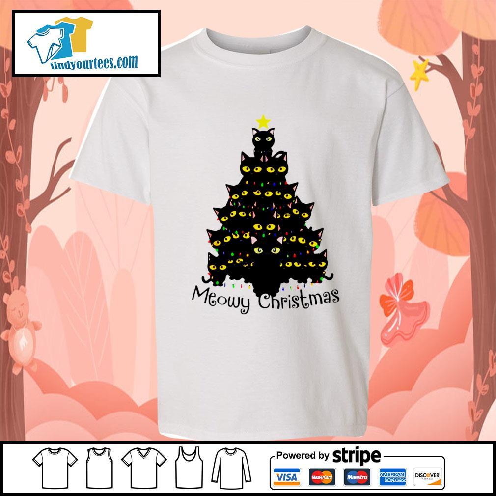 Black Cats Meowy Christmas Tree shirt, sweater Kid-T-shirt