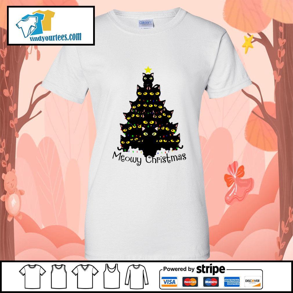 Black Cats Meowy Christmas Tree shirt, sweater Ladies-Tee