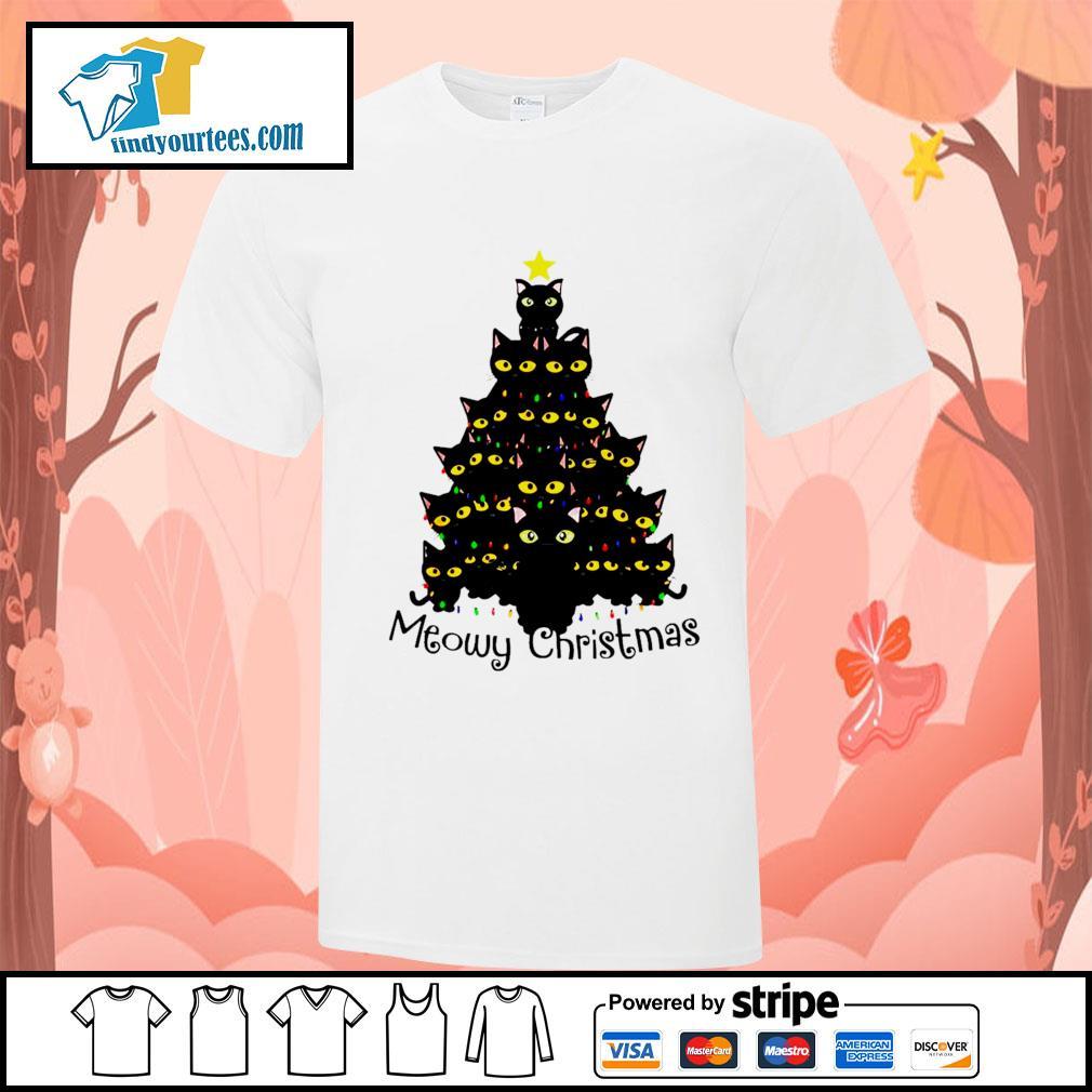 Black Cats Meowy Christmas Tree shirt, sweater