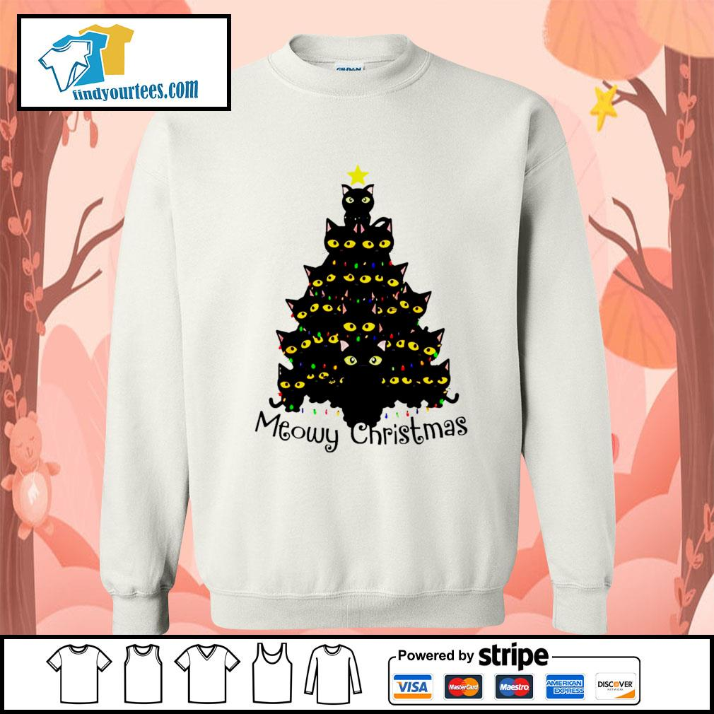 Black Cats Meowy Christmas Tree shirt, sweater Sweater