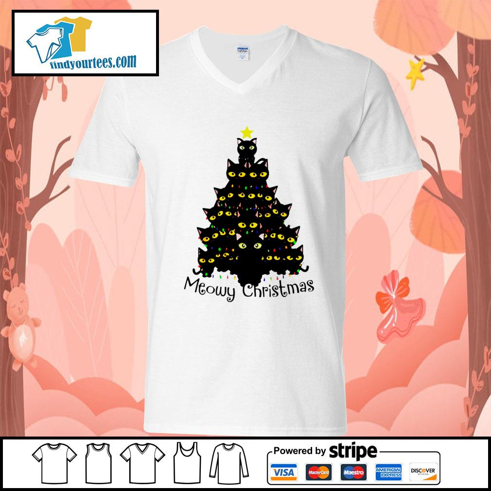 Black Cats Meowy Christmas Tree shirt, sweater V-neck-T-shirt
