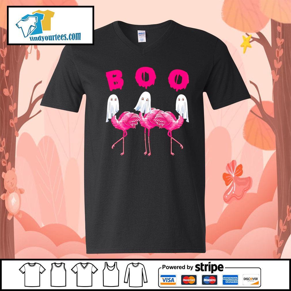 Boo ghost Flamingo Halloween s V-neck-T-shirt