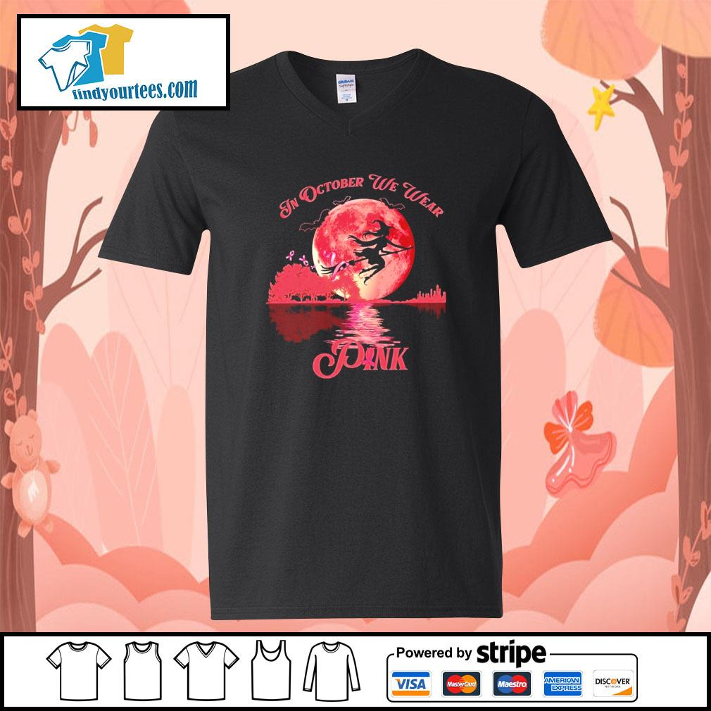 Breast Cancer Witch in october we wear pink Halloween s V-neck-T-shirt
