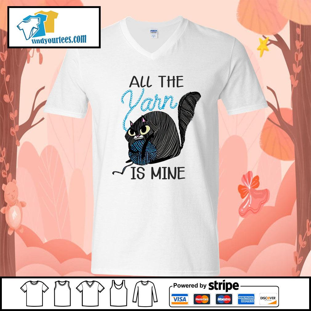 Cat All the Yarn is mine s V-neck-T-shirt