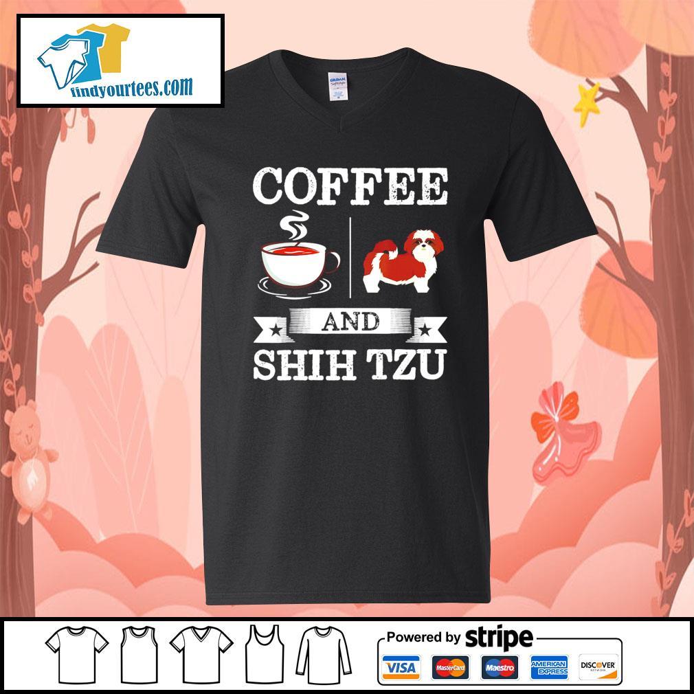 Coffee and Shih Tzu s V-neck-T-shirt