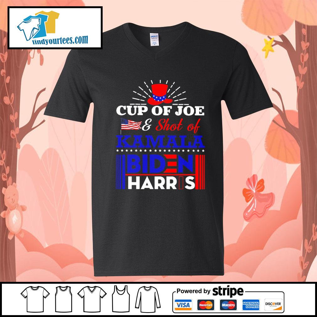 Cup of Joe and shot of Kamala Biden Harris s V-neck-T-shirt