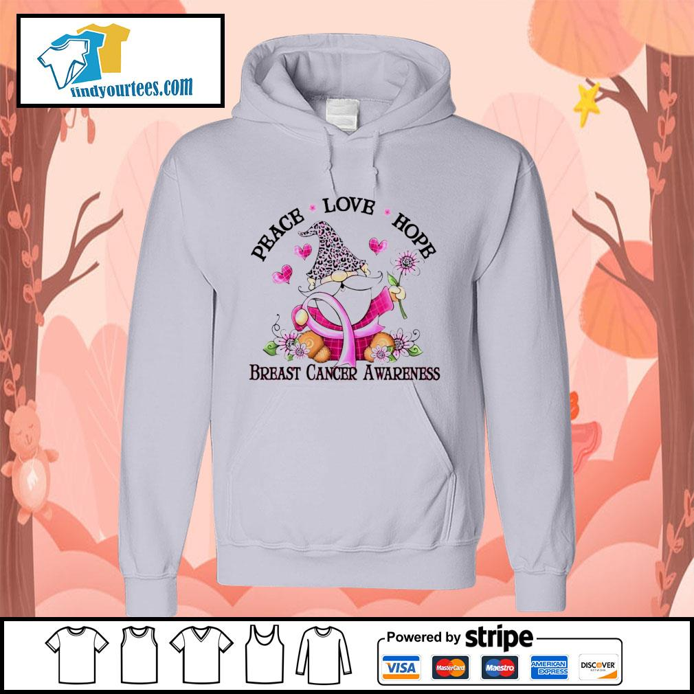 Gnome peace love hope breast cancer awareness s Hoodie