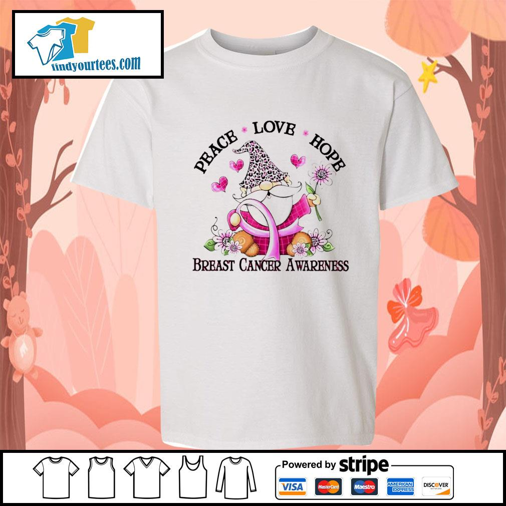 Gnome peace love hope breast cancer awareness s Kid-T-shirt