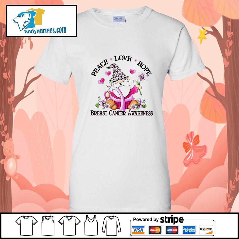 Gnome peace love hope breast cancer awareness s Ladies-Tee